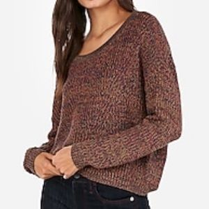 Express Cable Knit Split Back Sweater NWT